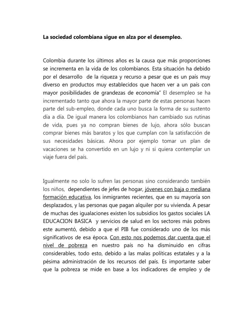 Ensayo Del Desempleo en Colombia