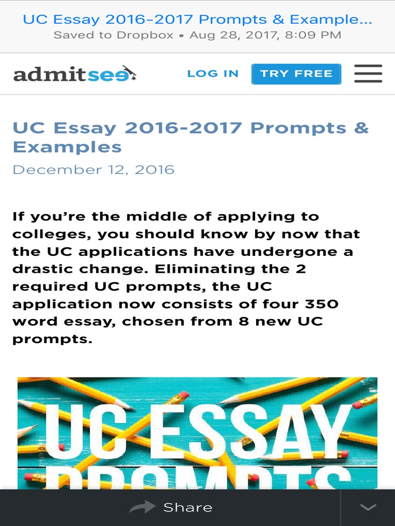 Uc Essay 2016 2017 Prompts Examples Admitsee