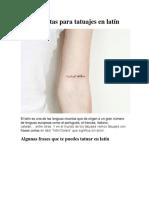Frases Cortas Para Tatuajes en Latín
