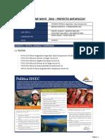 Informe Mensual Hse Antapaccay- Mayo 2016