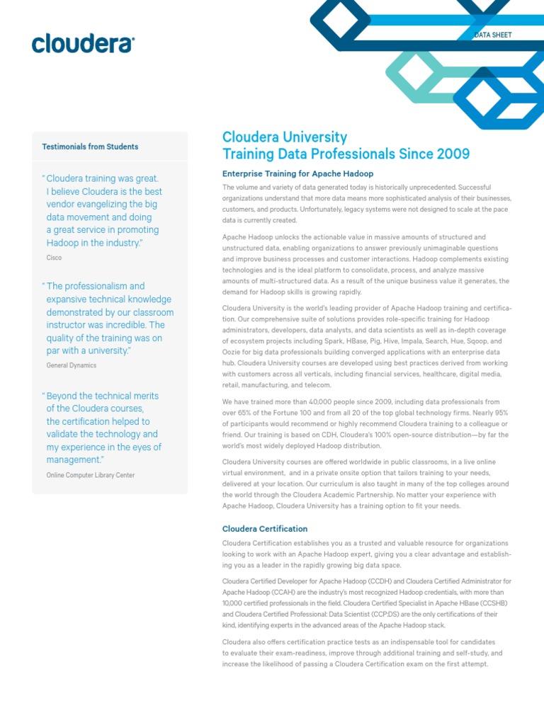 Cloudera University Training Overview Apache Hadoop Apache Spark