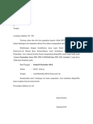 Surat Undangan Untuk Perpisahan Ppl Untuk Dewan Guru
