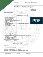 Its Class 8 Optional Maths Model Question Paper 1