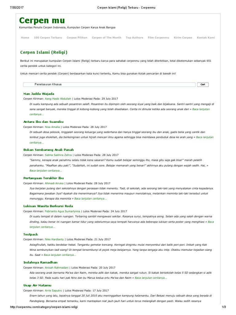 Cerpen islami pdf kumpulan