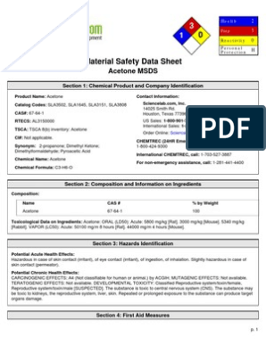 Msds Acetone Toxicity Water