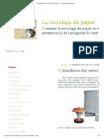 1) Installation d'Un Centre de Recyclage. - Le Recyclage Du Papier