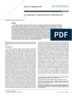 The Influence of Decision Making in Organizational Leadership and Management Activities