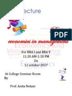 Guest Lecture on Economics