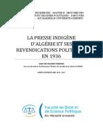 LA PRESSE INDIGÈNE D'ALGÉRIE ET SES REVENDICATIONS POLITIQUES EN 1936