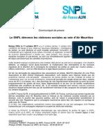 Le communiqué du syndicat national des pilotes de ligne (SNPL) français ALPA et le SNPL Air France