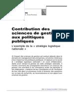 Contribution Des Sciences de Gestion Aux Politiques Publiques