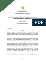 Lineamientos Para La Formacion en Investigacion Dentro de Los Planes de Estudio