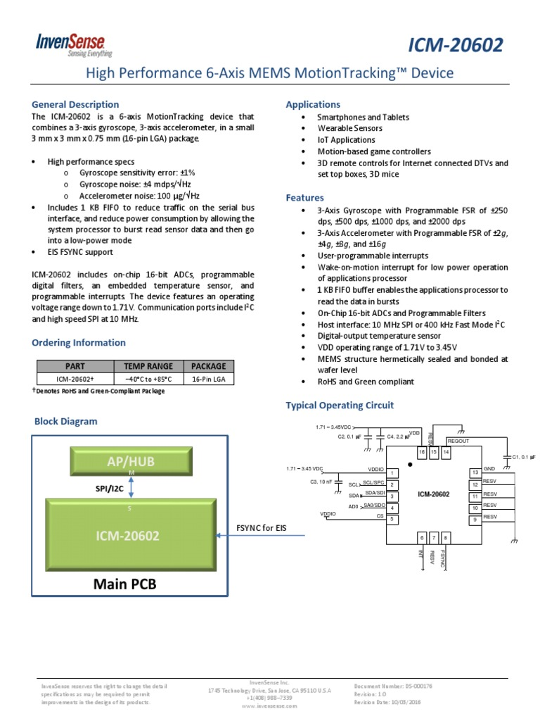 ICM20602 High Performance 6-Axis MEMS MotionTracking Device