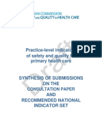 Synthesis of Submissions and Recommended Level Indicators of Safety and Quality for Primary Health Care March 2012