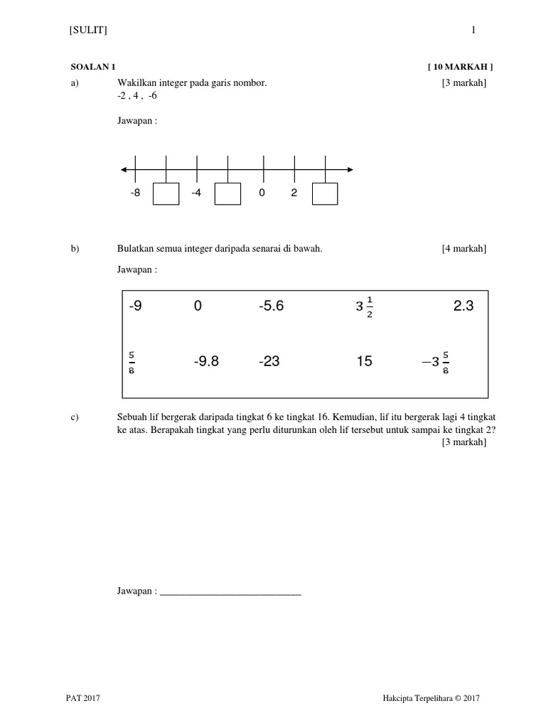 Soalan Matematik Tingkatan 1 Ungkapan Algebra Kuora H