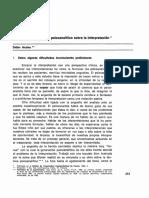 Didier Anzieu - Dificultad de un Estudio Psicoanalítico sobre la Interpretación