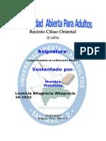El Currículo de Lengua Española Del Nivel Básico