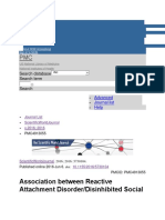 Association Between Reactive Attachment Disorder or Disinhibited Social Engagement Disorder and Emerging Personality Disorder a Feasibility Study