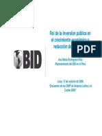 Rol de La Inversión Pública en El Crecimiento Económico - BID LIMA 2009