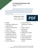 2017-10-08 - Orden Del Culto