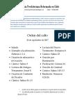 2017-09-24 - Orden Del Culto