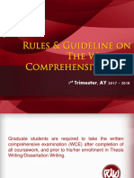 Rules and Guideline on the Written Comprehensive Exam