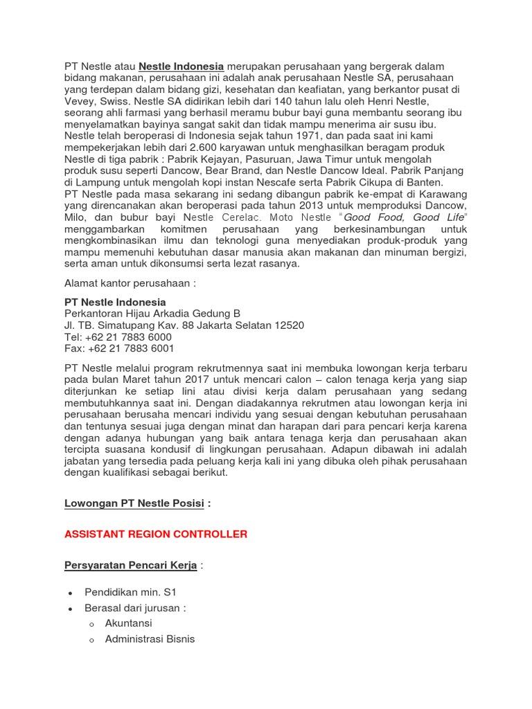 Contoh Surat Surat Lamaran Kerja Nestle Bahasa Inggris