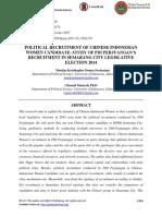 Political Recruitment of Chinese-Indonesian Women Candidate- Study of Pdi Perjuangan's Recruitment in Semarang City Legislative Election 2014