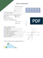 Ficha Atividades Matemática 5ºano