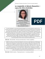 Normalisation Comptable Et Theorie Financiere l'Enjeu Des Titres Hybrides