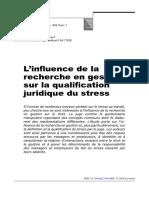 L'Influence de La Recherche en Gestion Sur La Qualification Juridique