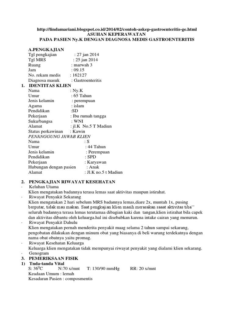 Asuhan Keperawatan Gastroenteritis