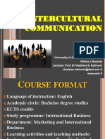 Course Format Intercultural Communication