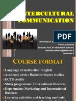 Course Format Intercultural Communication