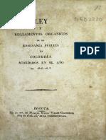 Reglamentos Organicos de La Ensenanza Publica 1826