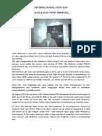 "International Petition ""Justice for Odón Mendoza"""