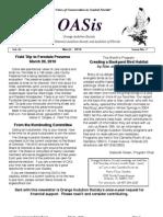 March 2010 OASis Newsletter Orange Audubon Society