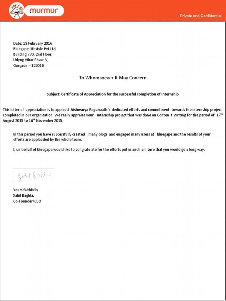 Internship completion letter business profit and loss statement sample murmur lor 1512194975v1 sample murmur lor internship completion letter internship completion letter yadclub Gallery