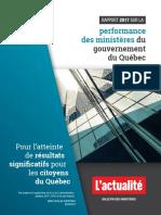 Rapport 2017 sur la performance des ministères du gouvernement du Québec - Version sommaire