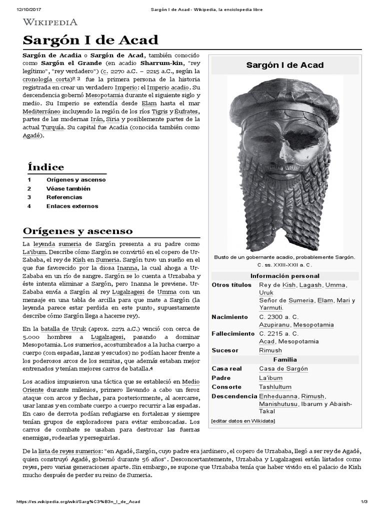 Sargón I De Acad Wikipedia La Enciclopedia Libre