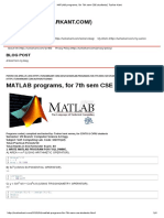MATLAB Programs, For 7th Sem CSE Students _ Tushar Kant