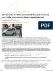 Electric Cars Are Twice as Harmful Than Conventional Cars to the Environment During Manufacturing