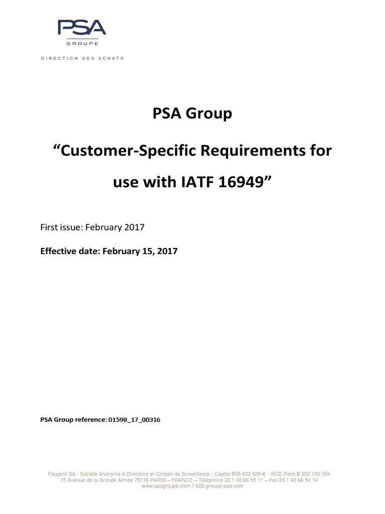 psa group csr iatf16949 2017 02 15 supply chain audit rh scribd com Rode PSA 1 Tech 21 PSA 1