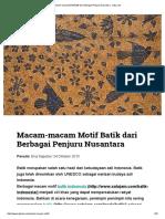Macam-macam Motif Batik