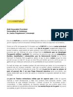 Carta de la CUP dirigida a Puigdemont antes de contestar el requerimiento de Rajoy