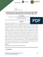 Governance of Healthcare System- Frameworks for Gender Mainstreaming Into Public Health