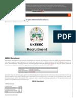 UKSSSC Recruitment
