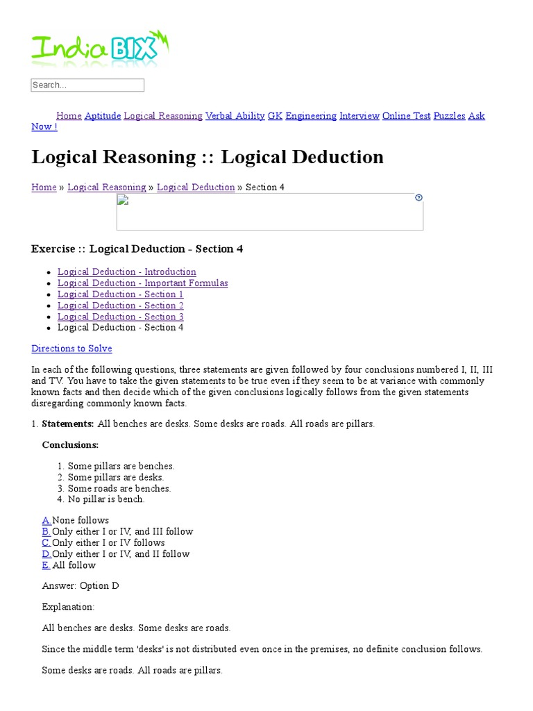 Logical Reasoning Test With Answers