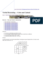 Cube and Cuboid Introduction - Verbal Reasoning Questions and Answers