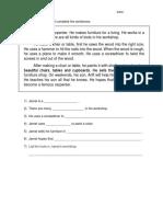 Task Sheet - Reading Comprehension
